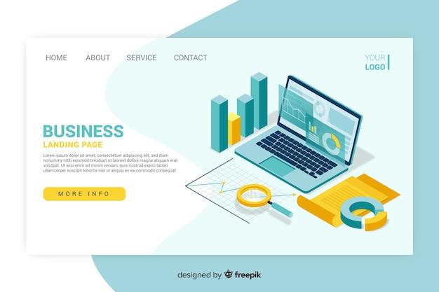 Design isométrico de página de destino de negócios Vetor grátis