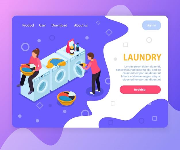 Design isométrico do site da página de destino da lavanderia com máquinas de lavar roupa texto editável e links clicáveis Vetor grátis