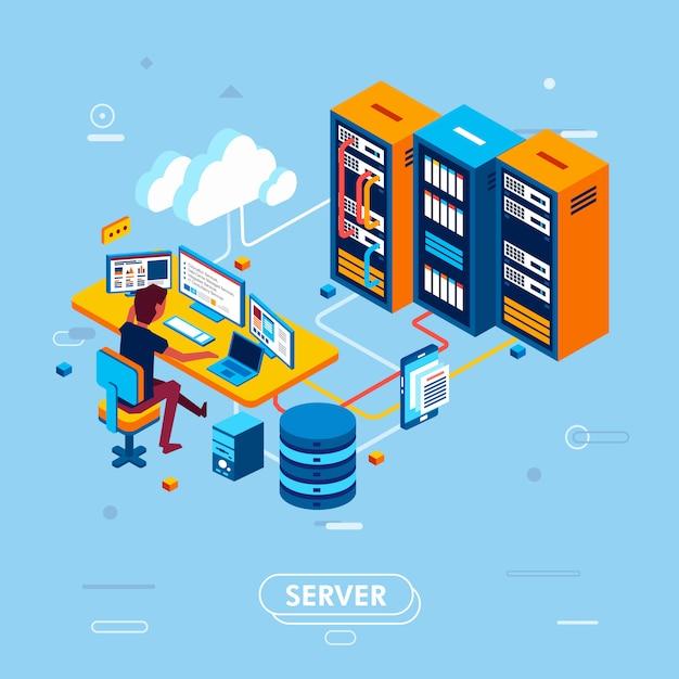 Design isométrico moderno de gerenciamento de servidores em nuvem, homem trabalhando na sala de centro de dados, gerenciamento de dados em ilustração em vetor servidor nuvem Vetor Premium