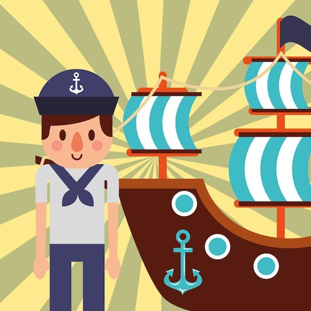 Design marítimo náutico Vetor Premium