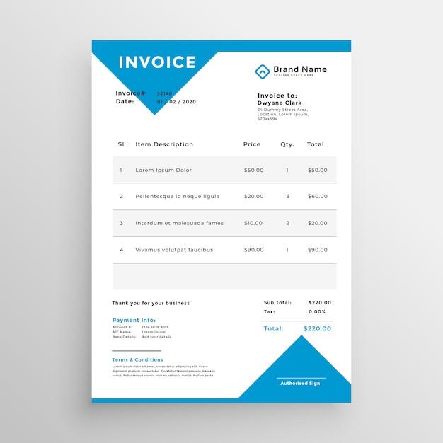 Design minimalista azul modelo de fatura Vetor grátis
