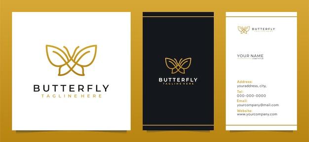 Design minimalista de logotipo de linha de borboleta e cartão de visita moderno Vetor Premium