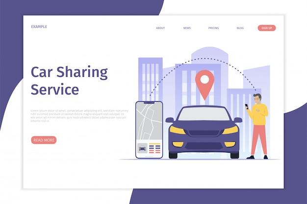 Design mobile city vector illustration conceito de página de destino Vetor Premium