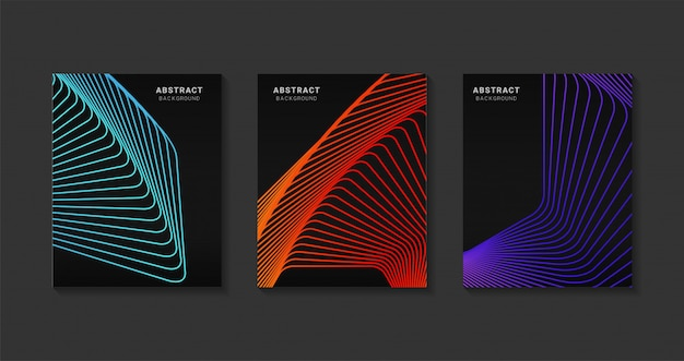 Design moderno abstrato capas. arte futurista linha gradientes de meio-tom. projeto moderno modelo de plano de fundo para a web. futuros padrões geométricos. Vetor Premium