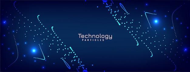Design moderno de banner azul de partículas brilhantes Vetor grátis