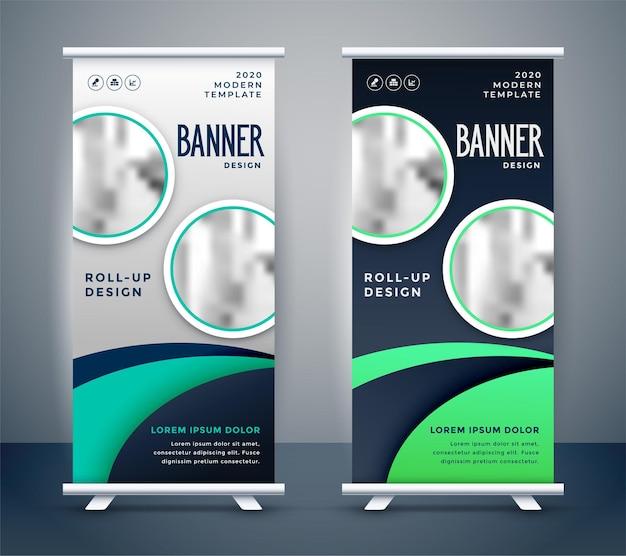 Design moderno de banner roll-up standee Vetor grátis