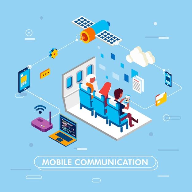 Design moderno de comunicação móvel com redes de internet, as pessoas se sentam no assento do avião e navegam com tablet Vetor Premium