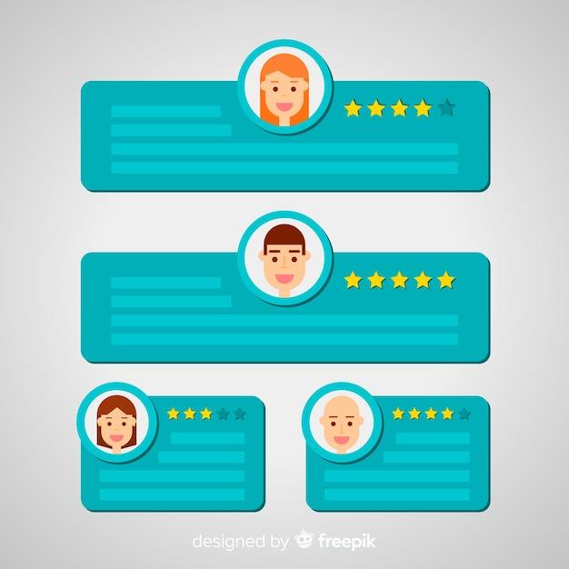 Design moderno de depoimento com conceito de bolhas do discurso Vetor grátis