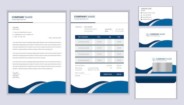 Design moderno de identidade corporativa para papelaria com modelo de papel timbrado, fatura e cartão de visita. Vetor Premium