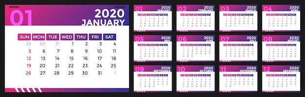 Design moderno do calendário 2020 Vetor Premium