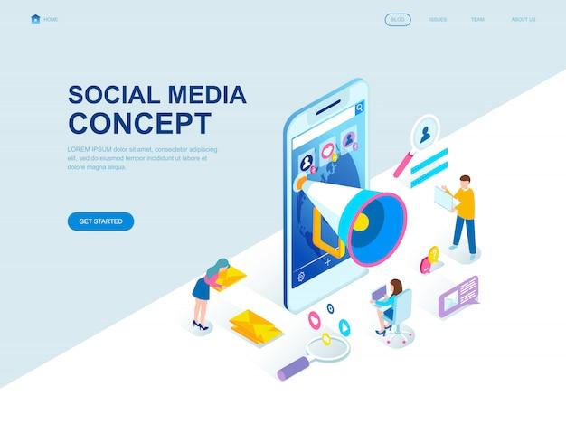 Design moderno plano isométrico página de destino de mídia social Vetor Premium