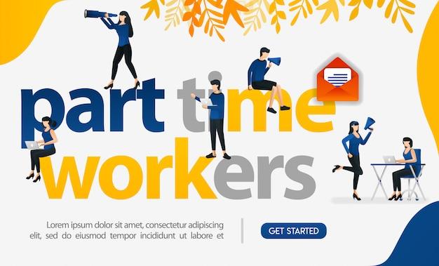 Design para procurar trabalhadores a tempo parcial com anúncios de mídia e banners na web Vetor Premium