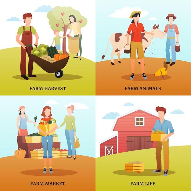 Design plano 2x2 conceito de design com as famílias que vivem e trabalham na fazenda durante o outono Vetor grátis