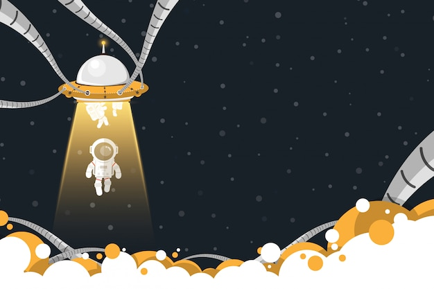 Design plano, abdução de nave espacial ufo astronautas, ilustração vetorial Vetor Premium