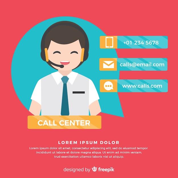Design plano agente de call center Vetor grátis