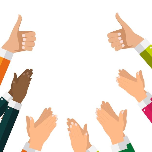 Design plano aplaudindo mão aplausos fundo Vetor Premium