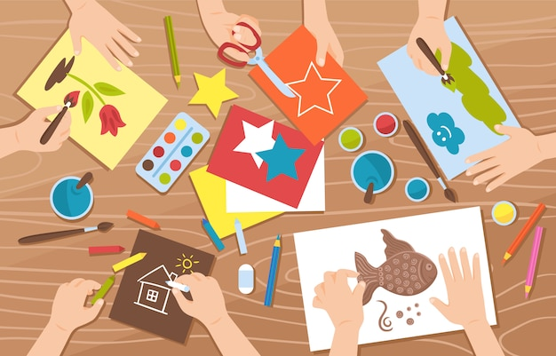 Design plano artesanal com crianças desenho e pintura ilustração Vetor grátis