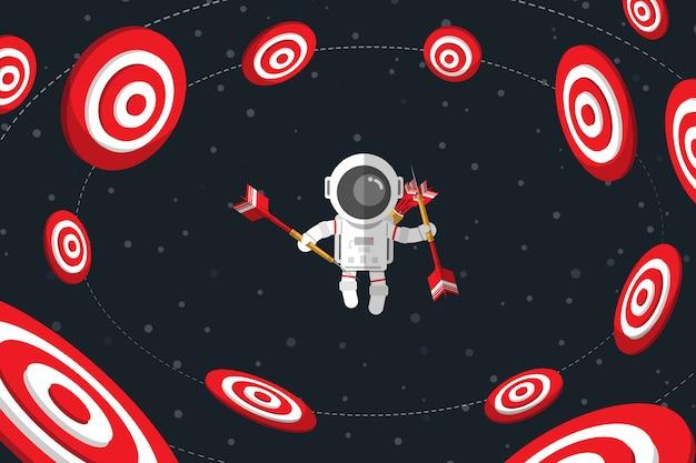 Design plano, astronauta segurando dardos enquanto flutuando no espaço entre o alvo vermelho Vetor Premium