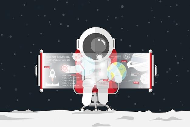 Design plano, astronauta tocando o controle na tela virtual enquanto está sentado na cadeira do escritório vermelho Vetor Premium