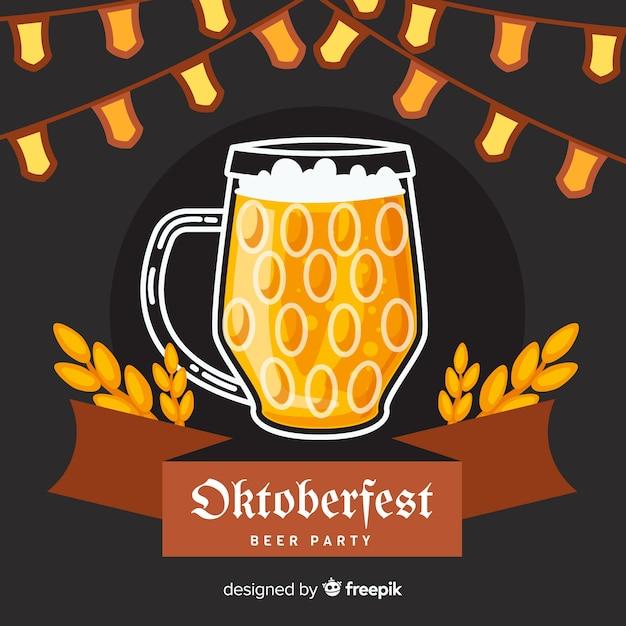 Design plano caneca de cerveja oktoberfest Vetor grátis