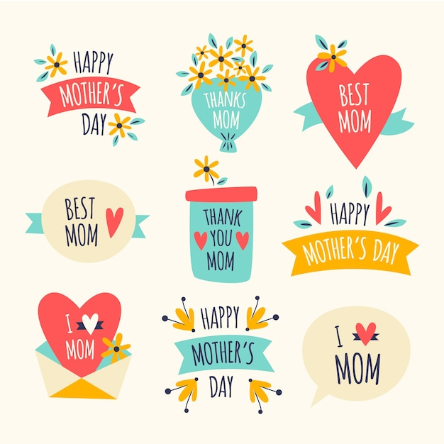 Design plano coleção design de rótulo de dia das mães Vetor grátis