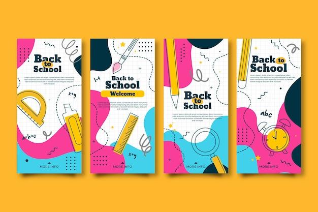 Design plano colorido de volta às histórias do instagram de escola Vetor grátis