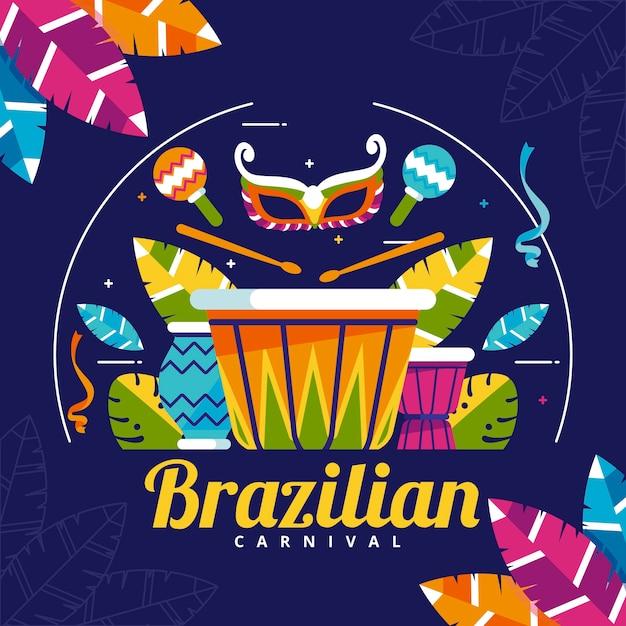 Design plano com elementos de carnaval Vetor grátis