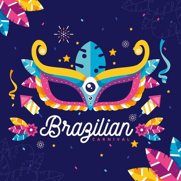 Design plano com elementos do carnaval brasileiro Vetor grátis
