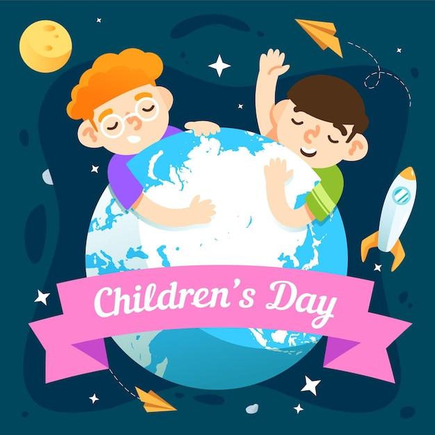 Design plano comemorativo do dia mundial da criança Vetor grátis