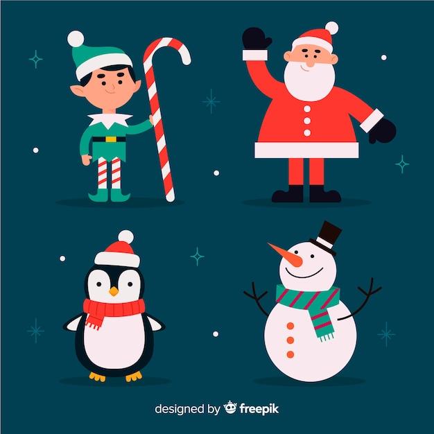 Design plano conjunto de caracteres de natal Vetor grátis