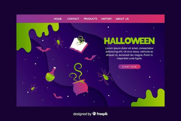 Design plano da página inicial do dia das bruxas Vetor grátis