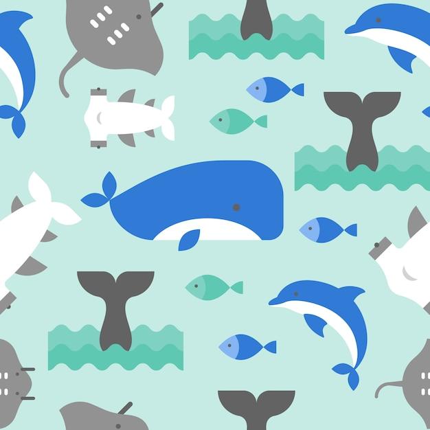 Design plano de baleia Vetor Premium