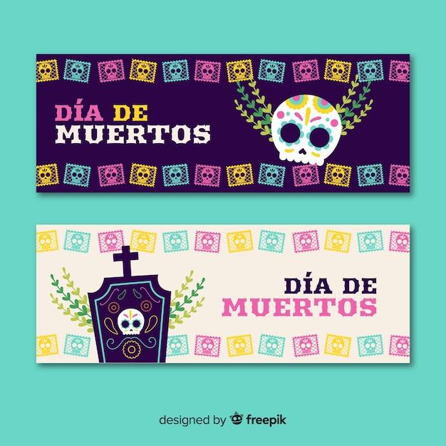 Design plano de banners de dia de muertos Vetor grátis