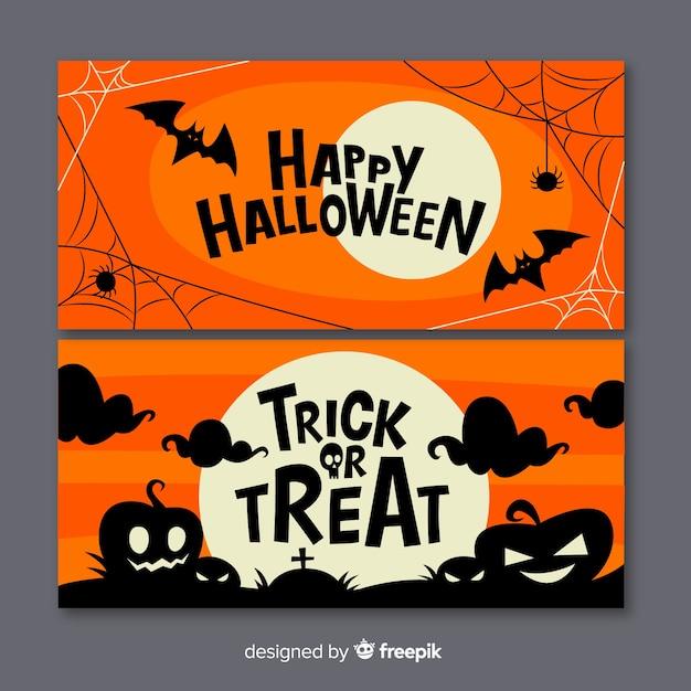 Design plano de banners de halloween Vetor grátis