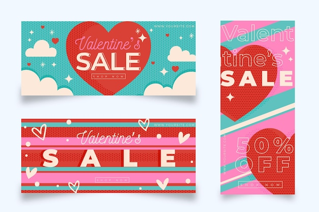 Design plano de banners de venda do dia dos namorados Vetor grátis