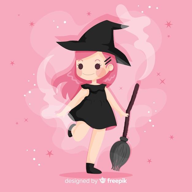Design plano de bruxa de halloween bonito Vetor grátis