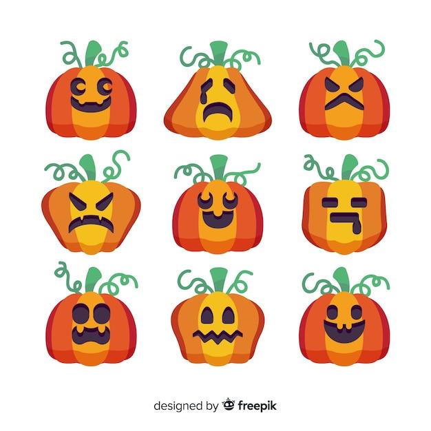 Design plano de coleção de abóbora de halloween Vetor grátis