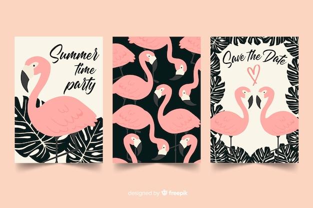 Design plano de coleção de cartão flamingo Vetor grátis