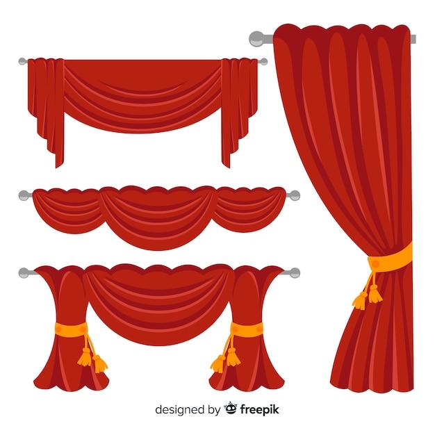 Design plano de coleção de cortina vermelha Vetor grátis
