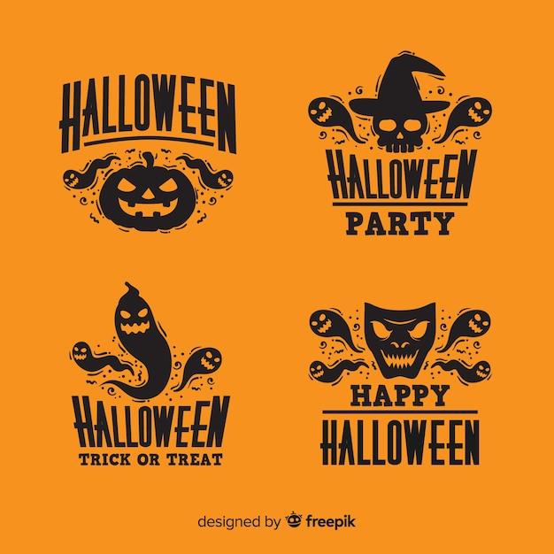 Design plano de coleção de distintivo de halloween Vetor grátis