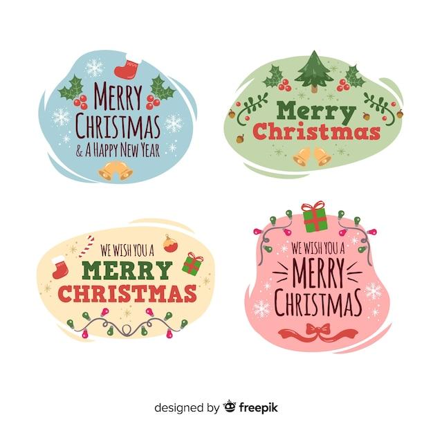 Design plano de coleção de distintivo de natal Vetor grátis