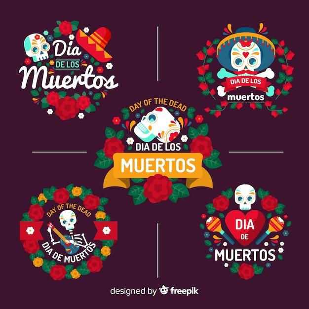 Design plano de coleção de distintivos de dia de muertos Vetor grátis