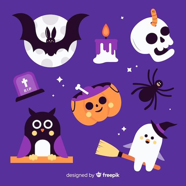 Design plano de coleção de elementos de halloween Vetor grátis