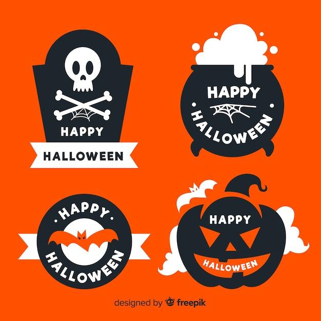Design plano de coleção de etiquetas de halloween Vetor grátis