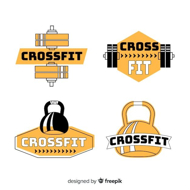 Design plano de coleção de logotipo crossfit Vetor grátis