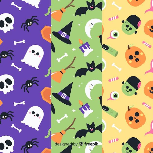 Design plano de coleção de padrão de halloween Vetor grátis