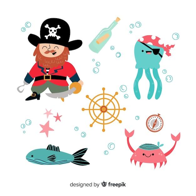 Design plano de coleção de personagem de vida marinha Vetor grátis