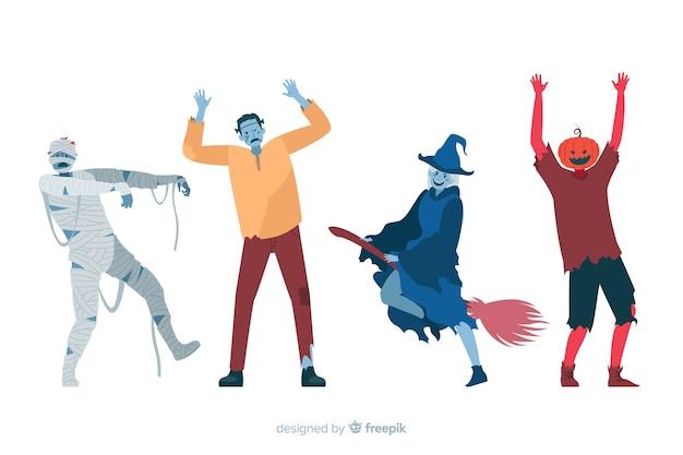 Design plano de coleção de personagens de halloween Vetor grátis