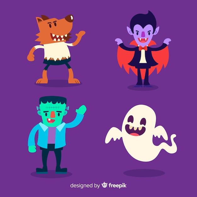 Design plano de coleção de personagens do halloween Vetor grátis