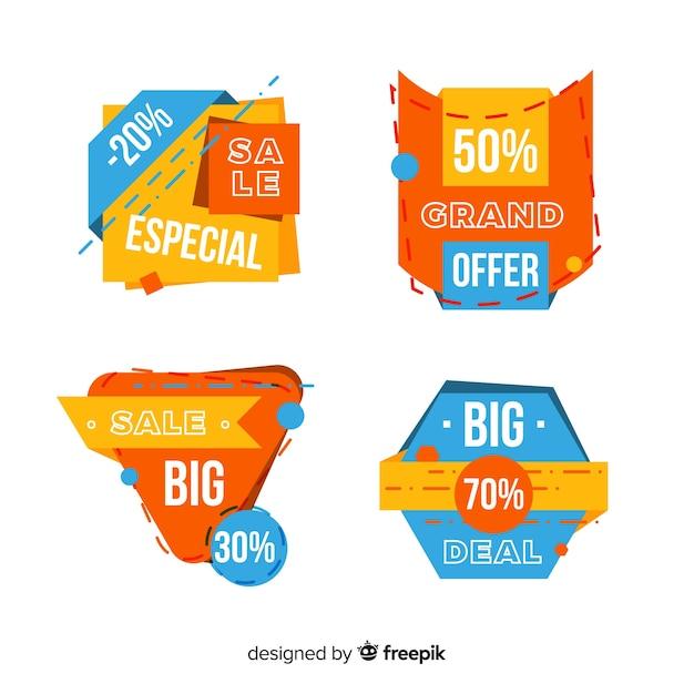 Design plano de coleção de rótulo de vendas Vetor grátis